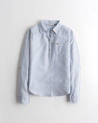 Hollister Gewebtes Hemd zum Überstreifen - Blau