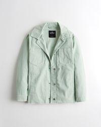 Hollister Oversized Corduroy Shirt Jacket - Green
