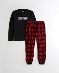 Hollister Graphic Tee & Flannel Jogger Sleep Set - Red