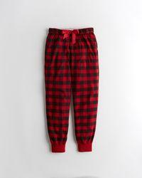 Hollister Graphic Tee Flannel Sleep Set - Red