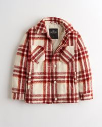 Hollister Cosy Brushed Shirt Jacket - Red
