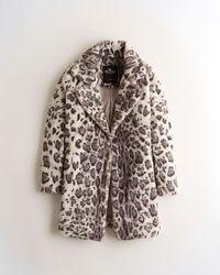 Hollister Faux-fur Leopard Coat - Grey