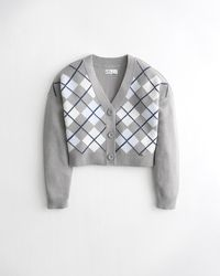 Hollister Argyle Crop Cardigan - Grey