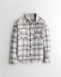 Hollister Oversized-Hemdjacke aus Flanell - Grau