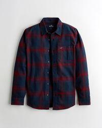 Hollister Plaid Flannel Shirt - Blue