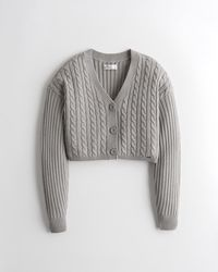 Hollister Crop Cable Cardigan - Grey