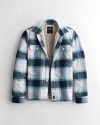 Hollister Flanell-Hemdjacke mit Sherpa-Futter - Blau
