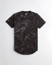 Hollister Marble Curved Hem T-shirt - Black
