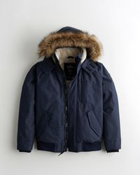 Hollister Faux-fur-lined Bomber Jacket - Blue