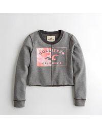Hollister Girls Graphic Crop Crewneck Sweatshirt From Hollister - Gray