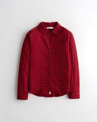 Hollister Plaid Flannel Shirt - Red