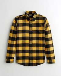 Hollister Plaid Flannel Shirt - Yellow