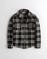 Hollister Oversized-Hemdjacke aus Flanell - Schwarz