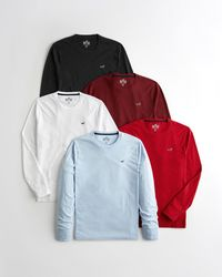 Hollister Must-have Crewneck T-shirt 5-pack - Red