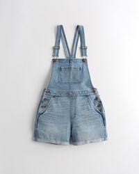"Hollister Kurze High Rise Jeans-Latzhose mit Vintage Stretch, 4"" - Blau"