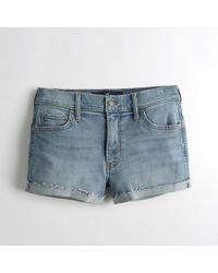 Hollister - Girls Advanced Stretch Mid-rise Denim Short-shorts From Hollister - Lyst