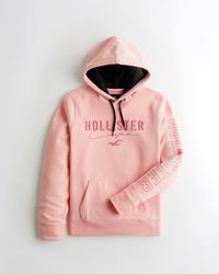 Hollister Embroidered Logo Hoodie - Pink