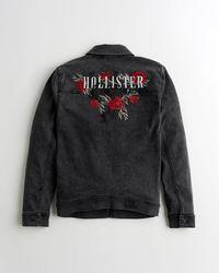 Hollister - Embroidered Logo Denim Jacket - Lyst