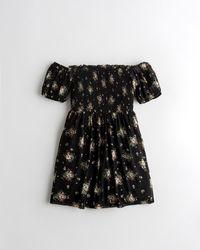 Hollister Mesh Square-neck Mini Dress - Black