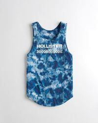 Hollister Tie-dye Graphic Tank - Blue