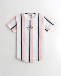 Hollister Stripe Embroidered Logo Graphic Tee - White