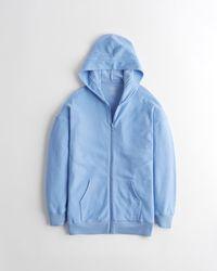 Hollister Gilly Hicks Reverse Fleece Full-zip Hoodie - Blue