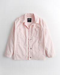 Hollister Oversized Corduroy Shirt Jacket - Pink