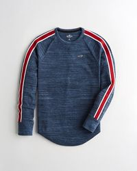 Hollister Sleeve-stripe Waffle Curved Hem T-shirt - Blue