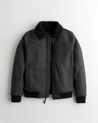 Hollister Sherpa-lined Faux-suede Aviator Jacket - Grey