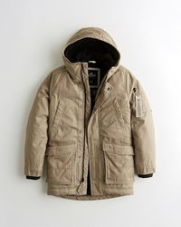 Hollister Sherpa-lined Military Parka - Brown