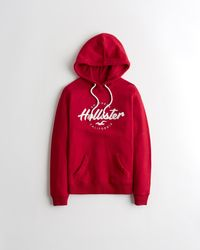 Hollister Applique Logo Hoodie - Red