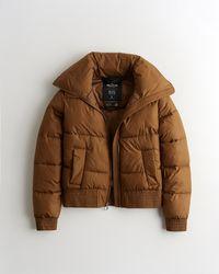 Hollister Mockneck Puffer Jacket - Brown