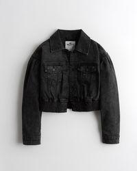 Hollister Balloon-sleeve Crop Denim Jacket - Black