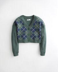 Hollister Argyle Crop Cardigan - Green