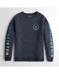 Hollister - Girls Print Logo Crewneck Sweatshirt From Hollister - Lyst