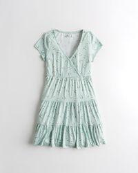 Hollister Tiered Soft Knit Mini Dress - Blue