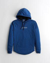 Hollister Logo Hooded T-shirt - Blue