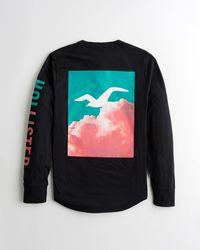 Hollister Cloud Print Logo Graphic Tee - Black