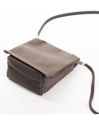 Rick Owens Small Flap Adri Leather Bag In Dark Dust - Black
