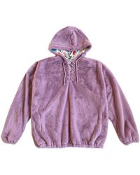 House of Fluff 100% Recycled Teddy Lace-up Hoodie - Lavender - Purple