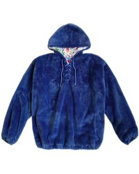 House of Fluff 100% Recycled Teddy Lace-up Hoodie - Marine Blue