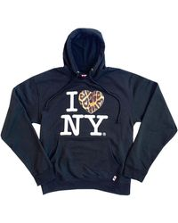 House of Fluff I Love Ny Fur Hoodie - Blue