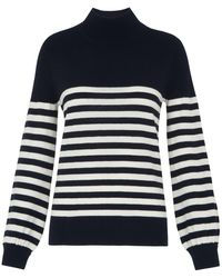 Whistles Stripe Funnel Neck Rib Knit - Blue