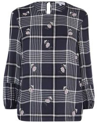 Warehouse   Daisy Embroidered Check Top   Lyst