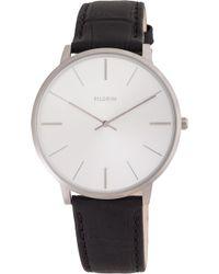 Pilgrim - Silver Plated Black Croc Watch - Lyst