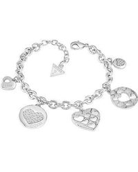 Guess | Heart Devotion Multi Charm Bracelet | Lyst