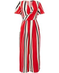 Girls On Film - Striped Wrap Neck Detail Jumpsuit - Lyst