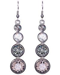 Karen Millen - Silver Swarovski Teardrop Earrings - Lyst