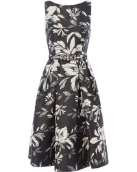 Eliza J - Printed Sleeveless Fit And Flare Dress - Lyst