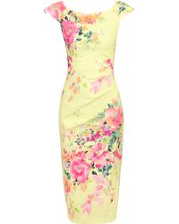 Jolie Moi - Floral Print Ruched Wiggle Dress - Lyst